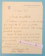 """L.A.S 1922 GASTON TRELAT Architecte > Gustave HERVE """" La Victoire """" - Ecole Spéciale D'Architecture - Lettre Autographe - Autographes"""