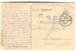 1916 Feldpost S.B. III Ball. ... Violett 33. INF. DIV. Auf AK In Den Wäldern Frankreichs - Deutschland