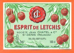 étiquette Esprit De Letchis - Jean Chatel à Saint Denis ( Réunion ) 36 °/° - 100 Cl - Etiquettes