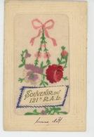 """MILITARIA - REGIMENTS - Jolie Carte Brodée """"Souvenir Du 121ème R.A.L """" écrite à CHAUMONT - Régiments"""