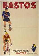 Sportifs Fumez Bastos Cigarettes (Oran) Football-cycle 1950s - Postcard Reproduction - Publicité