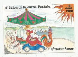 Cp, 4 E Salon De La Carte Postale Et Toutes Collections, St Aubin S/mer , Illustrateur Jean Luc Périgault , Vierge - Bourses & Salons De Collections