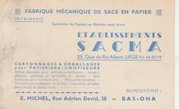 Bas-Oha , Carte Publicité ,SACMA ,fabrique Mécanique De Sacs En Papier ,représentant E.Michel - Wanze