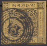 Mi-Nr. 2a, Vollrandig, Klar 43, Dünne Stelle, O - Baden