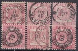 Mi-Nr. 18, 6 Werte Mit Ausgesuchten Schönen Stempeln, O - Baden