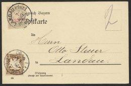 "Porto, Mi-Nr. 13x, MiF Mit MiNr. 60 Auf Ortskarte ""Landau"", 1899, Kein Text - Bayern"