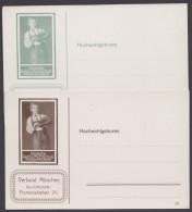 """GS, """"Reichs-Fechtschule"""", 2 Karten In Grün Und Braun, Je DD""""13"""", Wie Gleiche Privat-GS - Bayern"""