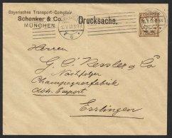 """GS, Mi-Nr. PU 9 B7, """"Schenker Und Co. München"""", Drucksache, 1909 Gelaufen, Senkr. Mittelbug, O - Bayern"""