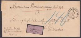 Tax. NN-Brief, 1883 - Hannover