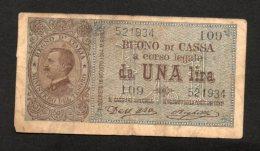 Banconota Buono Di Cassa 1 Lira 1914 (Dell'Ara, Righetti) - [ 1] …-1946 : Regno