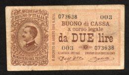 Banconota Buono Di Cassa 2 Lire 1914 (Dell'Ara, Righetti) - [ 1] …-1946 : Royaume
