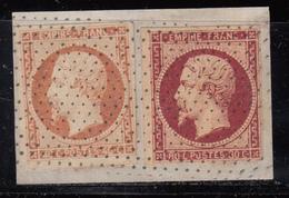 1853 YVERT Nº 16 , 17A Oblitération Pointillé - 1853-1860 Napoléon III