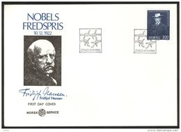 NORWAY FDC 1982 Fridtjof Nansen, Nobel Prize Laureate 1922. Perfect, Cacheted Unadressed Cover. - FDC