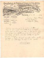 69 TARARE COURRIER 1913 Manufacture De PEIGNES Et LISSES  Pour Tissage Mécanique CLAIRET Aîné  *A14 - 1900 – 1949