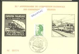 40 ème Anniversaire De L'exposition Nationale Des Cheminots Philatélistes - 29 Janvier 1983 - Marcophilie (Lettres)