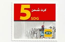 Sudan - MTN - People - Mini GSM Refill 5 SDG (Logo At Bottom), Used - Sudan