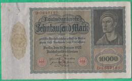 Billet Allemand - 10000 Mark - 19/01/1922 - Lettre G N°D.3649195 - [ 3] 1918-1933: Weimarrepubliek