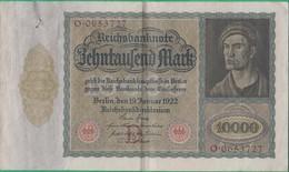 Billet Allemand - 10000 Mark - 19/01/1922 - Lettre D N°O.0653727 - [ 3] 1918-1933 : République De Weimar