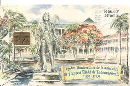 CARTE-PUCE-MAURICE-50RS-300é ANNIVERSAIRE Naissance F,M? LABOURDONNAIS-Utilise-BE COURANT - Mauritius