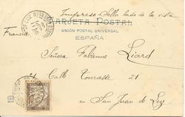 Tasa, Taxée 1905 Carte Postale De Bilbao Vers France, Voir 2 Scan - 1889-1931 Royaume: Alphonse XIII