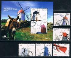Portugal, Açores, 2007, # 3549/52, 3541 Bl. 356, Carimbo 1º Dia, Used - Azoren