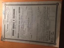ANONIMA GENERALE DI ASSICURAZIONE-UNIONE GRANDINE-PAVIA-POLIZZA D'ASSICURAZIONE-1915 - Azioni & Titoli
