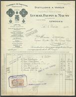 Dpt. HAUTE VIENNE - LIMOGES / Distillerie Alcool - Liqueurs LUCHAT - FAUPIN & MAUMY / 1935 - Food
