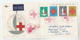 1963 REGISTERED Air Mail INDONESIA FDC  RED CROSS Cover To GB Airmail Label, Stamps - Indonesia