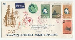 1963 REGISTERED Air Mail INDONESIA FDC Stamps PRAMBANAN  HINDU TEMPLE , DJAKARTA PATA CONFERENCE Cover Religion - Indonesia