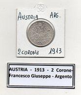 Austria - 1913 - 2 Corone - Francesco Giuseppe - Argento - (MW445) - Austria