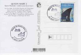 Eq3.h- FDC Paquebot QUEEN MARY 2 Liner Cunard Cover PC - 1st Day Covers Inauguration Déc.22 - Saint Nazaire - Sciences & Technique