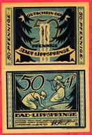 Allemagne 1 Notgeld 50 Pfenning  Stadt Lippspringe UNC Lot N °303 - [ 3] 1918-1933 : République De Weimar