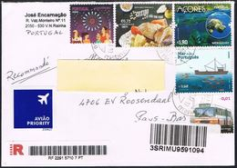 Portugal 2008 Registered Cover To Holland With Food Ship Bus And Stamp From Bloc Azoren - 1910-... République