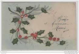 Carte CELLULOÎD Peinte à La Main Houx - BONNE ET HEUREUSE ANNEE - Nouvel An