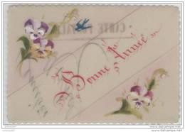 Carte CELLULOÎD Peinte à La Main Petite Taille 8.5x12 - BONNE  ANNEE - Pensée Hirondelle - Nouvel An