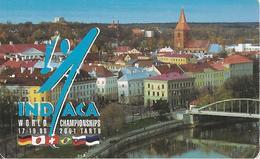 CARTE-PUCE-ESTONIE-SC7-2001-SPORT INDIACA-WORLD CHAMPIONSHIPS-Genre VOLLEY BALL Avec Volant A Plume-TBE - Estonie