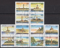 YUGOSLAVIA 2490-2501,used,lighthouses - Vuurtorens