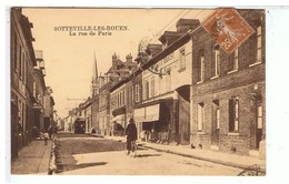 CPA-76-1928-SOTTEVILLE-les-ROUEN-LA RUE DE PARIS-ANIMEE-PERSONNAGES-1 CYCLISTE-TRAMWAY-A DROITE AUX FORGES DE L'OUEST- - Sotteville Les Rouen