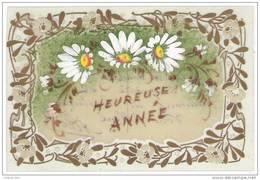 Carte CELLULOÎD Peinte à La Main - Heureuse Année - Marguerite - Nouvel An