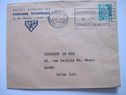 1949 S. A. Des PEINTURES TECHNIQUES PARIS 3è  Flamme Les écoles De L'armée De L'air Vous Donnent Un Métier - Marcophilie (Lettres)