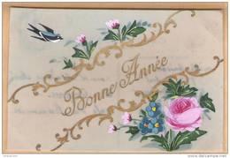 Carte CELLULOÎD Peinte à La Main - Bonne Année- (rose Fleurs Hirondelle) - Nouvel An