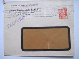 1953 RHUM & VINS ETRANGERS Anciens Etablissements FAYRET  76 LE HAVRE - Marcophilie (Lettres)
