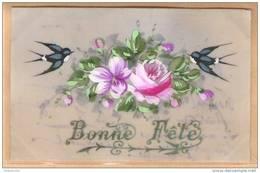 Carte CELLULOÎD Peinte à La Main - Bonne Fête - (rose Fleurs Hirondelle) - Nouvel An