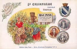 CPA  PUB PUBLICITE  KAUFFMANN CHOCOLAT  GALA PETER SERIE PROVINCES FRANCAISES No 11 LA CHAMPAGNE TROYES - Publicité
