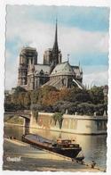 (RECTO / VERSO) PARIS - N° 303 - NOTRE DAME AVEC PENICHE - BEAU TIMBRE - FORMAT CPA VOYAGEE - Notre-Dame De Paris