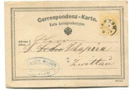 BZESZOW Correspondenz-Karte Postal Stationery Sent To Zwittau 1875 - ....-1919 Provisional Government