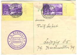2 X Fête Nationale 1938 10r  Sur Carte Postale Zürich=Küsnacht Nach Leipzig - Briefe U. Dokumente