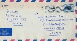 1984 ARABIA SAUDI , SOBRE CIRCULADO DESDE RIYADH A HOWRAH , LLEGADA AL DORSO - Arabia Saudita