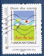 = Le 60ème Anniversaire Don Du Sang Don De Soi, Union Nationale Cadre Gris Philaposte Lettre Prioritaire 20g Oblitéré - France