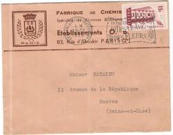 FRANCIA - France - 1956 - 15F Europa Cept + Flamme En Toutes Circonstances Dites Le Avec Des Fleurs - Seul - Fabrique De - Storia Postale
